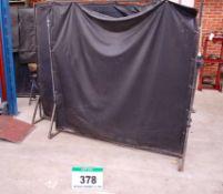 Three 6ft x 6ft Steel Framed Free Standing Black Plastic Welding Screens
