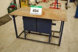 A 1.5M x 870mm Blue Painted Heavy Steel Plate Topped Fabrication Workbench with fitted Double Door