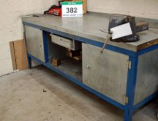 A 2M x 900mm Steel Framed Workbench with fitted Single Door Cupboard to each End, Lower Shelf,