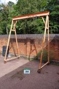 An A. MARTIN AND SONS Castor mounted 10CWT capacity Heavy Steel Lifting Gantry, Serial No. 154/12687