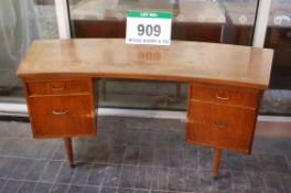 A Morris of Glasgow Teak Veneer Curved Double Pedestal Office Desk - fitted 4-Drawers, for restorati