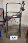 A Green Steel Oxy-Acetylene Bottle Trolley with Hoses, Gauges and Torch Body