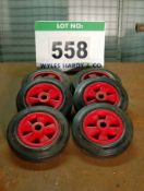Six Moulded Plastic Trolley and Sack Barrow Wheels