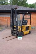 A CAT Model EP18 1800Kg capacity Battery Electric Ride-On Counter-Balance Forklift Truck, Serial No.