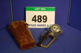 A TAPLEY AND CO. Brake Efficiency and Stopping Distance Meter on A Clamp Base in A Leather Case (