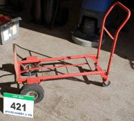 A Red Steel Sack Barrow/Trolley on Two Pneumatic and Two Solid Trolley Wheels (Pneumatic Tyres