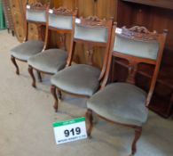 Four Wood Framed Green Velour Upholstered Dining/Visitors Chairs (Three on Castors)