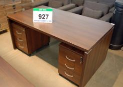 A Mahogany Veneer Slab Ended Office Table with 2 Matching Independent 3-Drawer Under Desk Pedestals