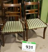 Two Dark Oak Framed Green and Silver Striped Fabric Upholstered Dining/Visitors Chairs