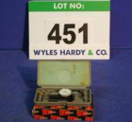 A VERDICT Model T2 0-.030 inch Dial Indicating Comparator Gauge in Plastic Case and Original Box