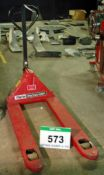 A CLARKE Strong Arm 2000Kg capacity Manual Hydraulic Wide Fork Pallet Truck (Use Reserved until 28/