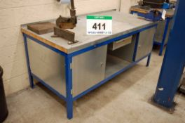 A 2M x 900mm Steel Framed Workshop Bench with fitted 2-Single Door Cupboards to each End, Lower