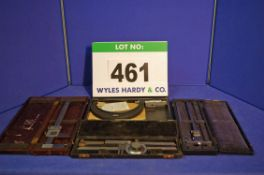 A BRITISH NSF CO. LTD 0-10 inch Vernier Caliper Gauge in Wooden Box, A MOORE AND WRIGHT Angle