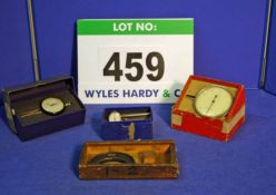 A 1-2 inch Outside Micrometre in Wooden Case and Three Various Dial Gauges (Boxed)