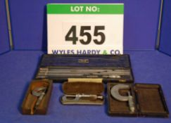 A MOORE AND WRIGHT 0-12 inch Depth Gauge in A Case, Two 0-1 inch Outside Micrometres and A 1-2