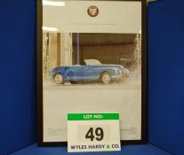 A Framed and Glazed Promotional Poster depicting OPB 706, A Blue Bristol 402 Drophead