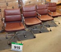 Four Brown Leather Upholstered Chromed Steel Charles Eames Style Gas Lift Armchairs on Castors