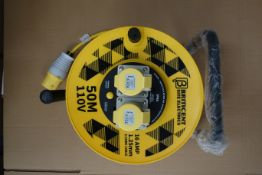 8 X Briticent SE1040 50M 110V 16AMP Extension Leads On Reels With Thermal Cut Out 1.25MM 3 Core