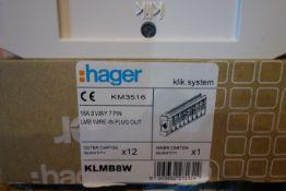 12 X Hager KLMB8W KLIK-System KM 3516 16A 8W 7P LMB Wire In Plug Out
