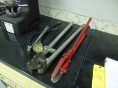Lot of Assorted Tools|Includes:; Banding Cutter and Crimper; Chain Wrench; Gauge