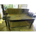 """Lot of (2) Metal Worktables   (1) Craftsman 5-1/2"""" Vise Model No. 51871; (1) Master Grinder"""