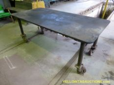Metal Work Table on Wheels | 6'L x 3'W x 2-1/2H