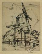 BAHN, Ernst (*1901 Bonn †1978 Münster), Radierung, Windmühle, links unten in Druckplatte monogramm.,