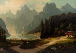 ALPENLÄNDISCHE SCHULE, 19. Jh., Öl/ Lw., doubliert, Blick auf den sommerlichen Königssee, links