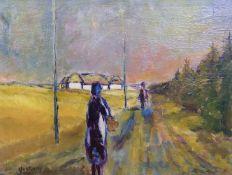 VANTORE, Mogens (*1895 Kopenhagen †1977), Öl/ Lw., Dänische Landschaft, Personen am Waldrand,