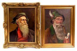 HEINZ, A., Deutsche Schule, 1. Hälfte 20. Jh., Öl/ Lw., Portrait eines alten Mannes mit grauem Bart,