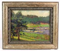 DEUTSCHE SCHULE, 1. Hälfte 20.Jh., Öl/ Karton, Sommerlicher Teich mit Seerosen, 23 x 29 cm,