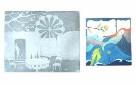 "WAHL, Carla (*1930 Hannover), Farbradierung, ""Venus im Bade"", links unten numm 49/ 60, mittig"