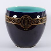 CACHEPOT, Feinsteinzeug, kobaltblau glasiert, Goldstaffage, Dm 25, SAARGEMÜND, um 1910