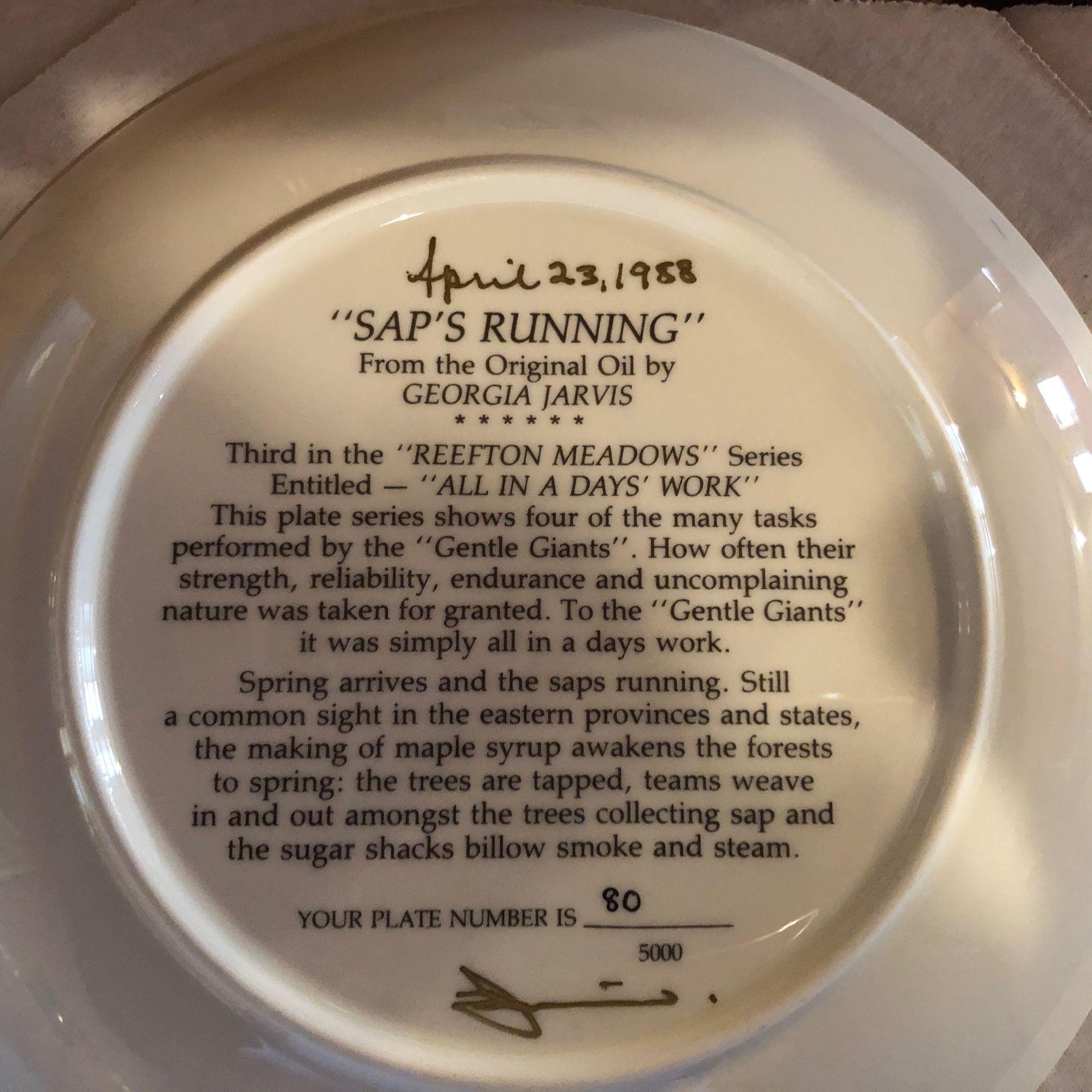 "Georgia Jarvis Plate ""Saps Running"" - Image 2 of 2"