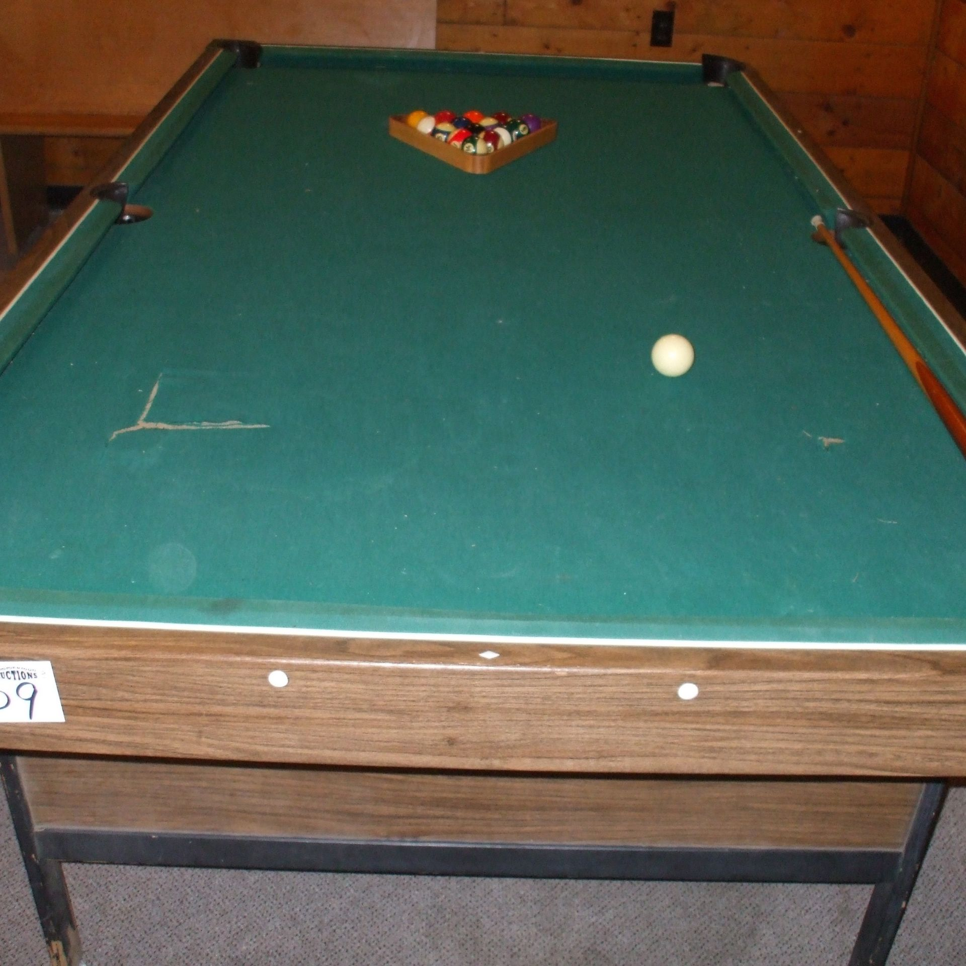 Pool table, balls & cues - Image 4 of 4