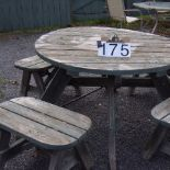 Round wooden picnic table & 4 benches