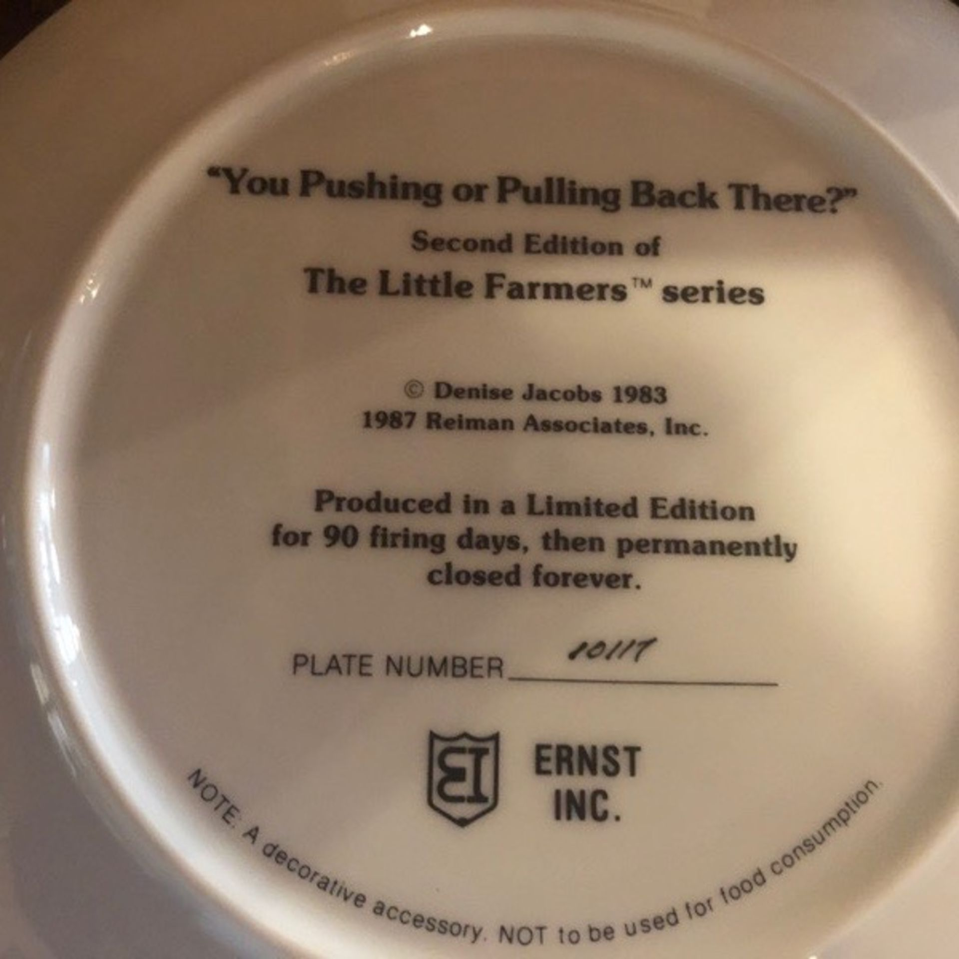 """Denise Jacobs Plate """"Are you pushing & pulling me back there"""" - Image 2 of 2"""