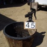 Pond pump on wooded 1/2 barrel