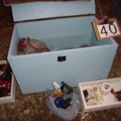 Horse stall box, assorted tack, blanket, brushes etc.