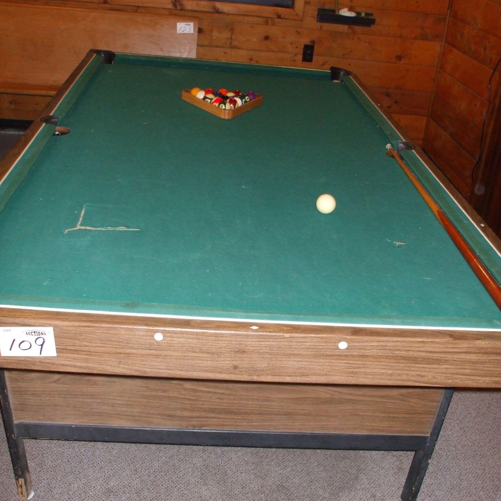 Pool table, balls & cues