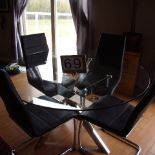 Glass top dining table, 4 chairs