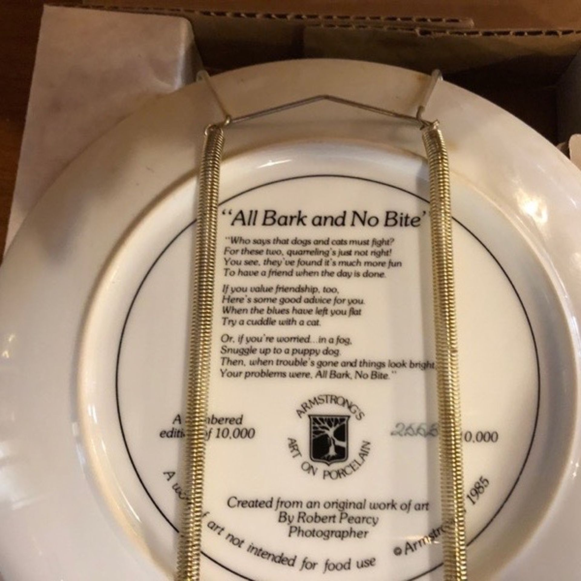 """Robt Pearcy Plate """"All Bark no Bite"""" - Image 2 of 2"""
