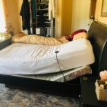 King Bed 2 extra long twins,, 1 is electric adjustable, leather headboard
