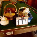 Misc. kitchen gadgets, teapot, baskets