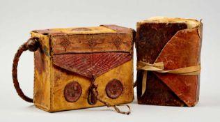 Koran -Koran in Ledertasche. Arabische Handschrift auf Papier. Sahelzone, 19. Jhdt. Ca. 19 x 12