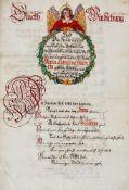 Regensburg - Sammlungvon 4 kalligraphierten Huldigungsschriften für Anna Catharina Hueber,