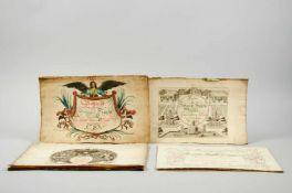 Schreibübungen - Sammlungvon 8 Heften mit Probeschriften. Deutschland, ca. 1782-1816. Jeweils Qu.-4°