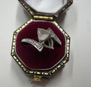 9ct white gold dress ring (a/f), 2.2 grams gross, Birmingham 2007, size M, Comes with own ring box