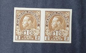Canada KG V 1916 imperf proof pair 2c+1c war tax Unused, without gum