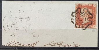 RARE - QV Penny Black(E-B), plate 9 printed in RED with 4 good margins with black Maltese Cross